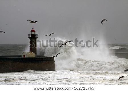 Storm with strong waves on the Portuguese coast - stock photo