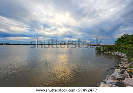Storms and clouds at sunset on the Chesapeake Bay ,Maryland - stock photo