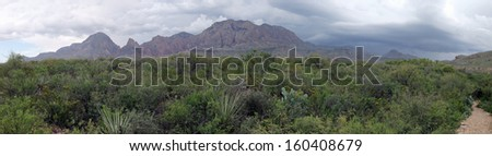 Storms over the Chisos Mountains in Big Bend National Park, Texas - stock photo