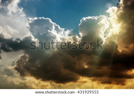 Stormy Atmosphere Nature Photo. Stormy Cloudscape.