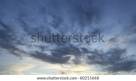 Stormy blue sky with clouds - stock photo