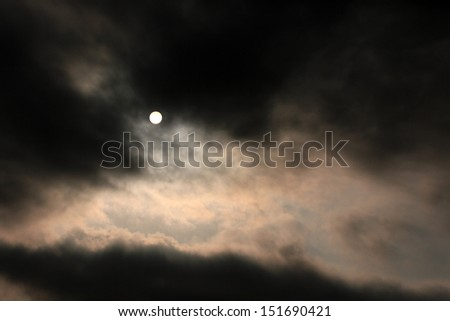 Stormy clouds over sunrise - stock photo
