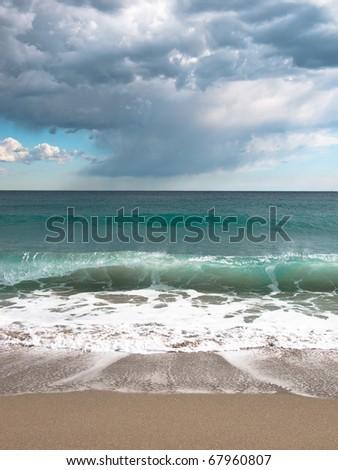 Stormy day at beach in Barcelona / Beach / Waves / Seaside / Coast / Spain - stock photo