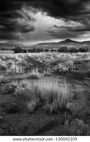 Stormy day in the desert near Abiquiu, New Mexico - stock photo