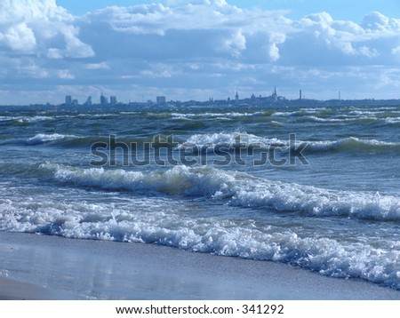 Stormy day on Baltic Sea - stock photo