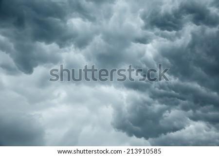 Stormy grey cloudy sky background - stock photo