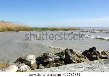 Stormy Lake Balaton , Hungary - stock photo