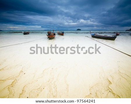 Stormy landscape. Ebb on the Koh Lipe island. Thailand