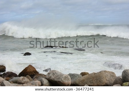 Stormy ocean during hurricane Bill - stock photo