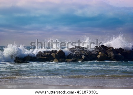 Stormy ocean waves, beautiful seascape, big powerful tide in action, storm weather in a deep blue sea, forces of nature, natural disaster.ocean wave in the Pacific ocean - stock photo