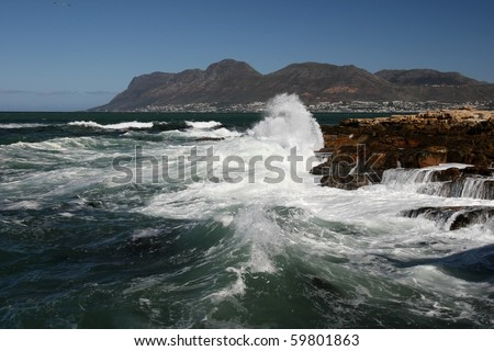 Stormy sea and waves on the South African coast in Cape Town - stock photo