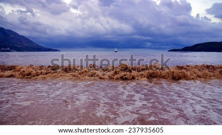 stormy sea in cloudy morning - stock photo