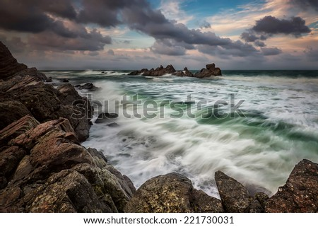 Stormy sea near Varvara, Bulgaria - stock photo