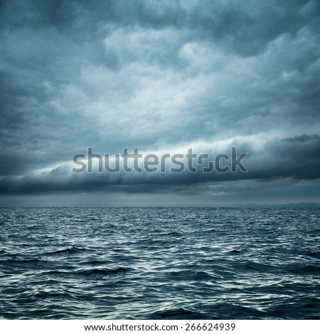 Stormy Sea. Wild Nature Dark Background. Toned and Filtered Photo. Copy Space.