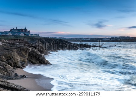 Stormy seas at Fistral beach at dusk in Newquay on the north Cornwall coast - stock photo