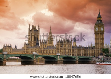 Stormy Skies over London. Big Ben and the Houses of Parliament, viewed across River Thames