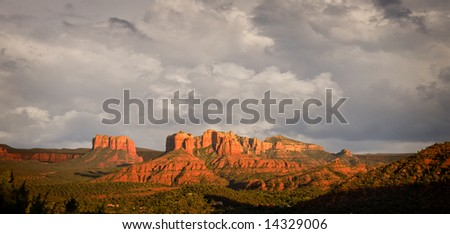 Stormy skies over the red rocks of Sedona in late afternoon - stock photo