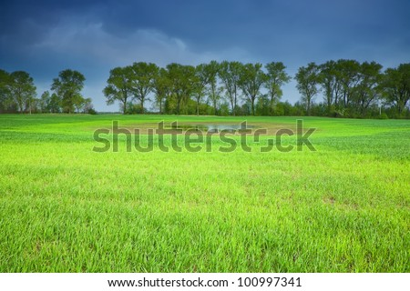 Stormy sky over a field of green wheat - stock photo