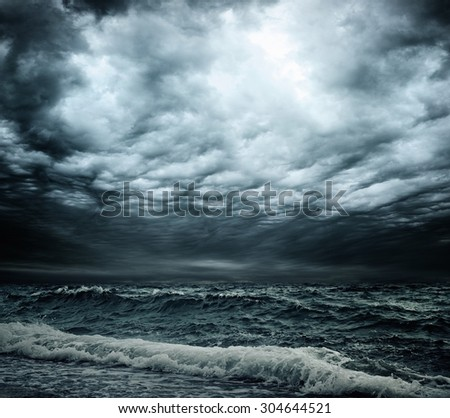 Stormy sky over an ocean - stock photo
