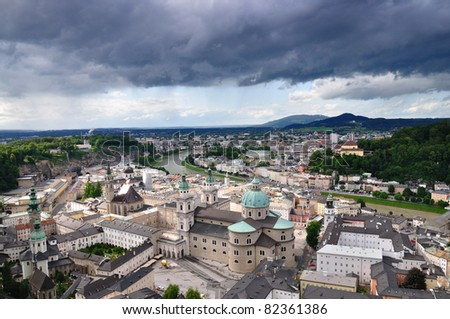 Stormy sky over old town of Salzburg, Austria