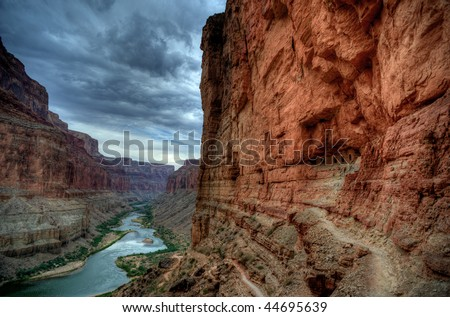 Stormy sky over the Grand Canyon from the Nankoweap Granaries - stock photo