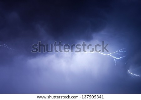Stormy sky with lightning - stock photo