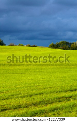 stormy vista. green grass, blue cloudy sky. even horizon.