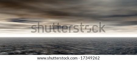 stormy water landscape - 3d illustration - stock photo