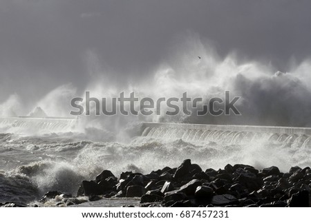 Stormy waves over pier from the north of Portugal