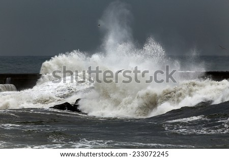Stormy waves over pier, north of Portugal - stock photo