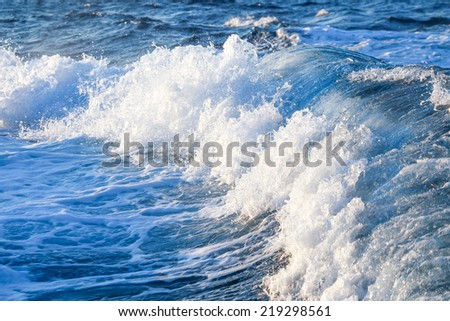 stormy waves with splashes - stock photo