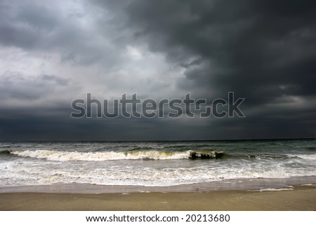 Stormy weather, Atlantic ocean coast, MD, USA - stock photo