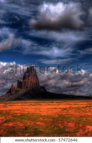 Stormy weather over Monument Valley - stock photo