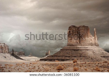 Stormy weather over Monument Valley in Arizona - stock photo