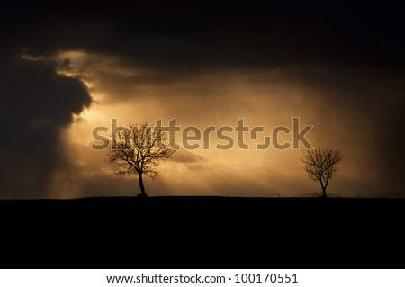 Stormy weather with dark thunderclouds and trees on the horizon. - stock photo