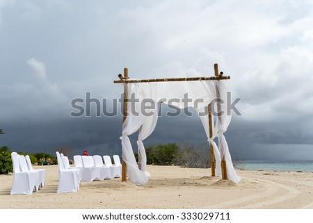 Stormy wedding setup Views around Curacao a Caribbean Island  - stock photo