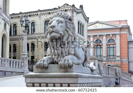 Stortinget (Parliament) in central Oslo City, Norway - stock photo