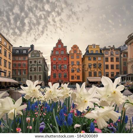 Stortorget in Gamla stan, Stockholm. Sweden - stock photo