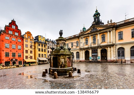 Stortorget in Old City (Gamla Stan), the Oldest Square in Stockholm, Sweden - stock photo
