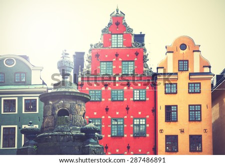 Stortorget square in Stockholm. Retro style filtred image - stock photo