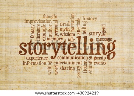 story and storytelling word cloud on a hand made papyrus paper - stock photo