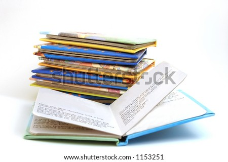 Story book - one opened , you can add picture into the book - stock photo