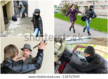 Story of different robberies. Collage made of four pictures - stock photo
