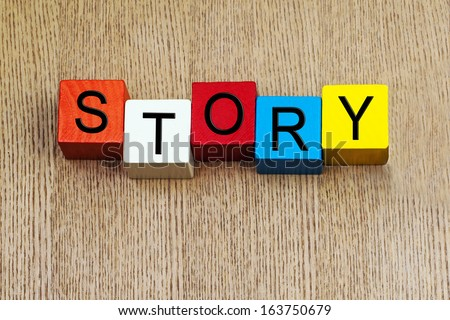 Story - sign for writing, education, literature, books, teaching English language, and the art of plot, character, theme and story writing. - stock photo