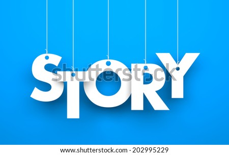 Story. Text on the strings - stock photo