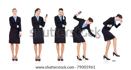 storyline,  bad news businesswoman received bad news over the phone,  storyline, isolated on white - stock photo