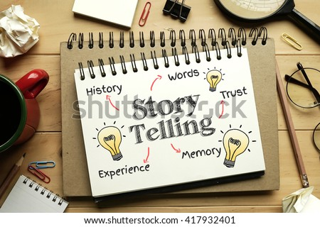 Storytelling Concept on notebook  - stock photo