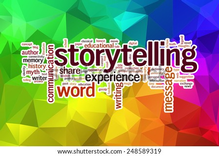 Storytelling concept word cloud  on a low poly background with polygons - stock photo