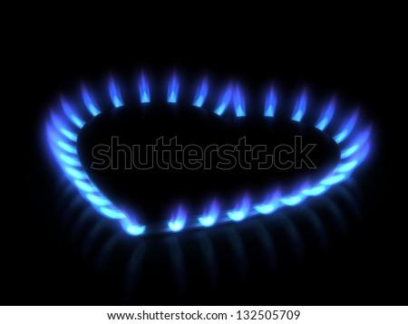 stove. Gas flame - stock photo