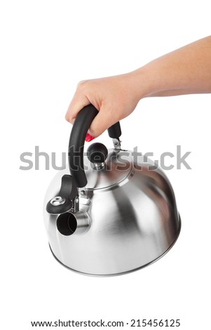 Stovetop whistling kettle in hand isolated on white background - stock photo